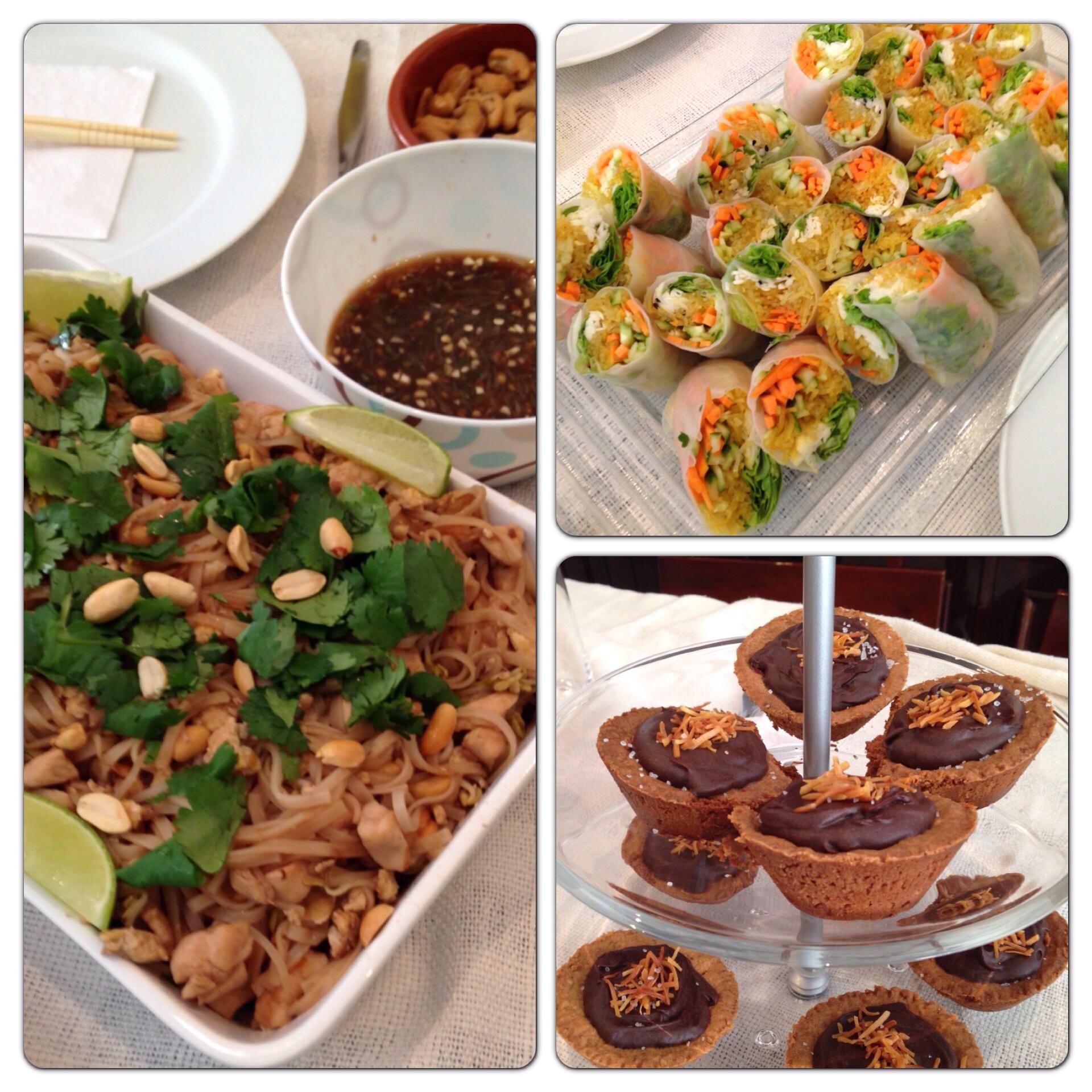 Pad Thai e rolinhos vietnamitas