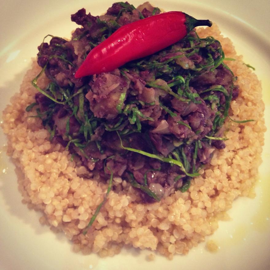 Feijão Azuki com batata-doce e couve + Quinoa